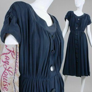 L Vintage 30s 40s Navy Rayon Tea Dress